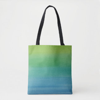 Ombre Watercolor Print Tote Mermaid Colors