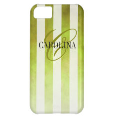 Ombre Watercolor Stripes Monogram Name | pear iPhone 5C Covers