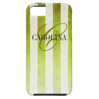 Ombre Watercolor Stripes Monogram Name | pear iPhone 5 Case