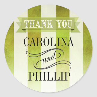 Ombre Watercolor Stripes Thank You | pear Classic Round Sticker