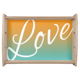 Ombre Watercolor Texture Love Script Teal Orange Serving Tray