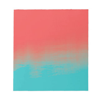 Ombre Watercolor Texture - Teal and Coral Notepad