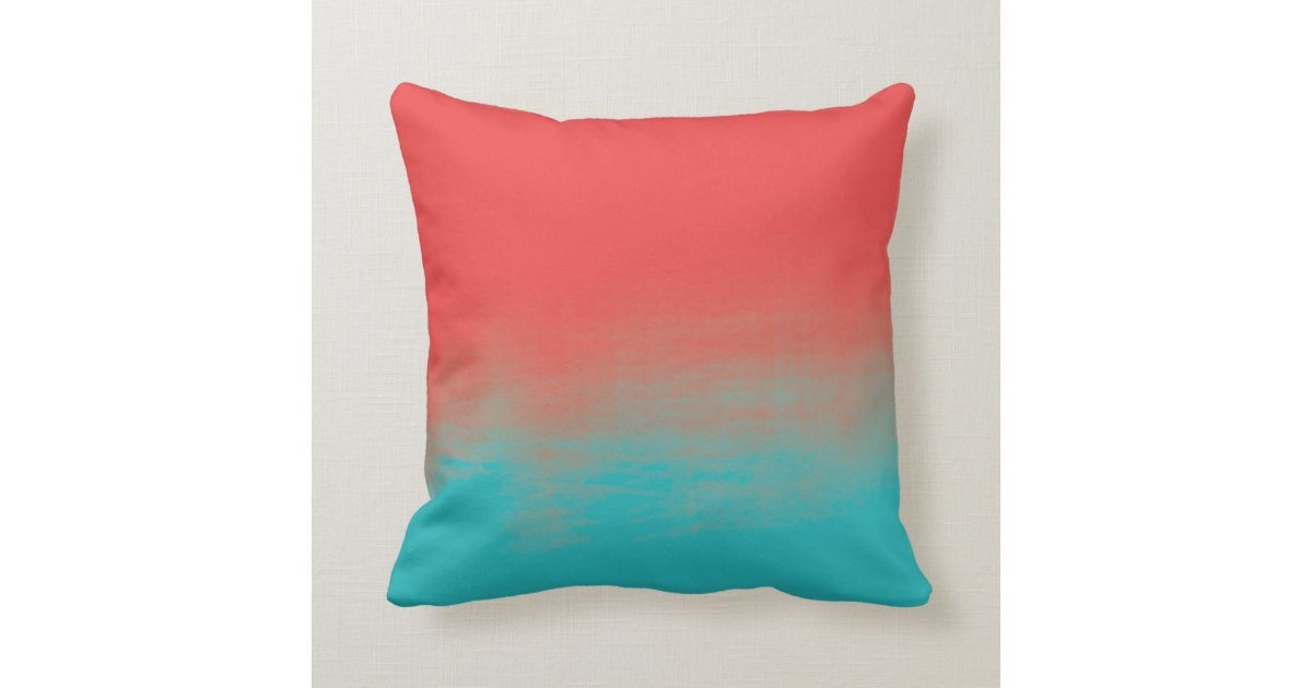 ombre watercolor texture teal and coral throw pillow - Coral Decorative Pillows