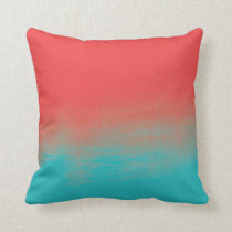 Ombre Watercolor Texture - Teal and Coral Throw Pillow