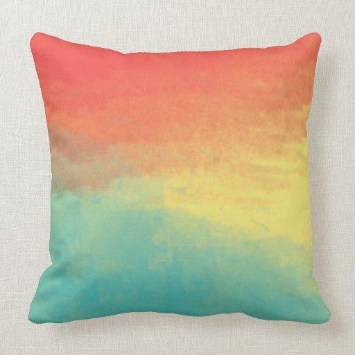 Ombre Watercolor Texture - Teal, Coral, Yellow Sun Throw Pillow