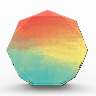 Ombre Watercolor Texture - Teal, Yellow, Coral Acrylic Award