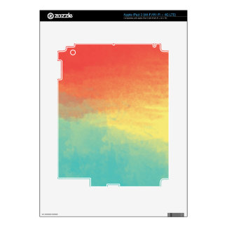 Ombre Watercolor Texture - Teal, Yellow, Coral Decals For iPad 3