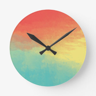 Ombre Watercolor Texture - Teal, Yellow, Coral Round Clock