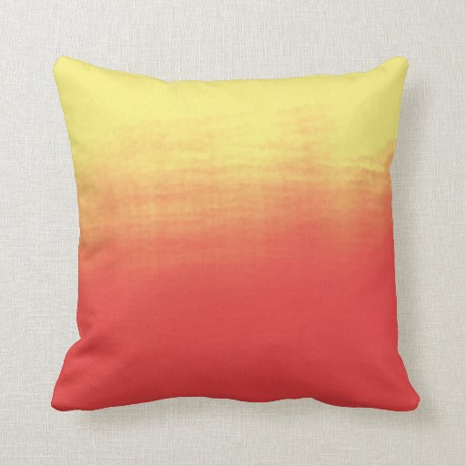 Ombre Watercolor Texture - Yellow and Coral Sunset Throw Pillow