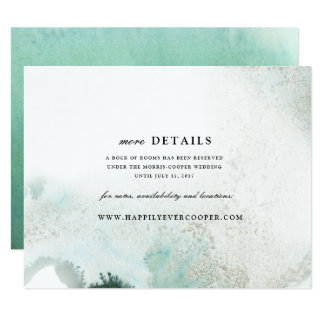 Ombre Watercolor Wedding Details Card | GREEN