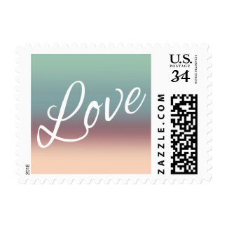 Ombre Watercolor Wedding Love Night Sky Teal Pink Postage Stamps