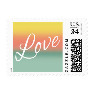 Ombre Watercolor Wedding Love Sunset Teal Pink Stamp