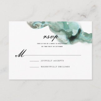 Ombre Watercolor Wedding Reply Card | GREEN