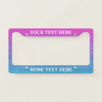 Ombre wood panel custom license plate frame