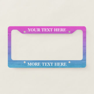 Ombre wood panel custom license plate frame
