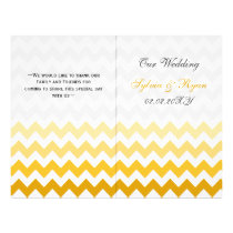 Ombre yellow Chevron folded Wedding program