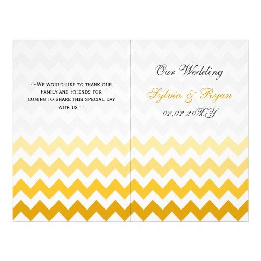 Ombre yellow Chevron folded Wedding program Flyers