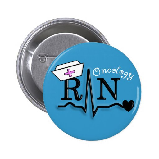 Omcology Nurse  RN Gifts QRS Design 2 Inch Round Button