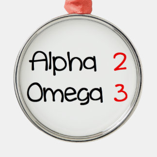 Omega alpha metal ornament