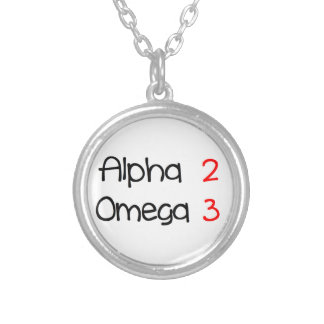 Omega alpha silver plated necklace