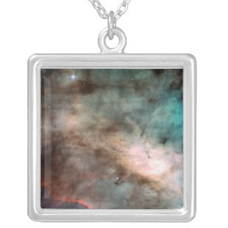 Omega Nebula Hubble Photo Charm Square Pendant Necklace