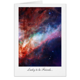 Omega Nebula, Messier 17 - Lucky to be Friends Card