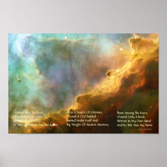 Omega Nebula With Original Poem Poster