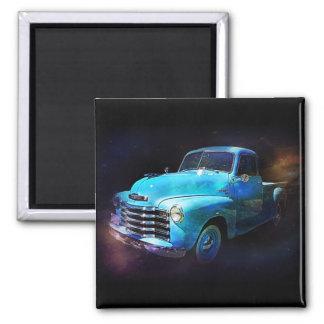 Omega Truck! Blue Vintage Truck 2 Inch Square Magnet