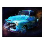 Omega Truck! Blue Vintage Truck Postcard