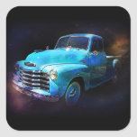 Omega Truck! Blue Vintage Truck Square Stickers