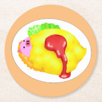 Omelet Rice in Kobuta-chan Round Paper Coaster