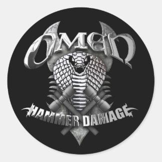 """Omen """"Hammer Damage"""" Classic Round Sticker"""