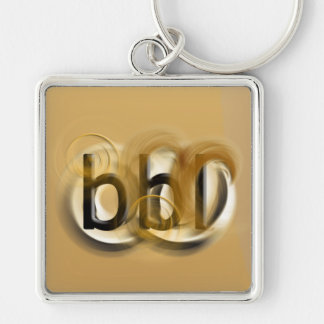 OMG! bbl Silver-Colored Square Keychain