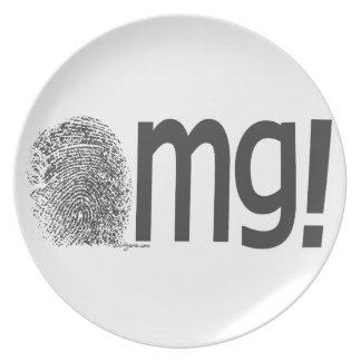 omg black and white dinner plate