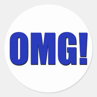 OMG! blue Classic Round Sticker
