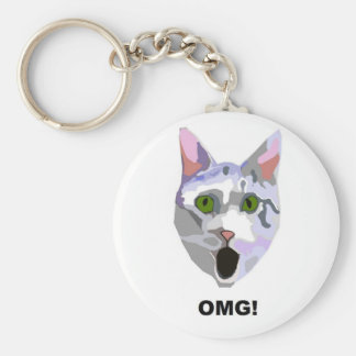 OMG! CAT 'what has he seen?' Basic Round Button Keychain