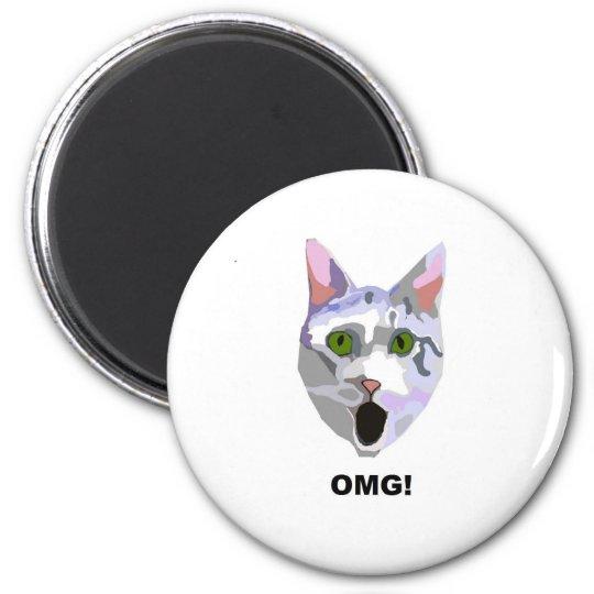 OMG! CAT 'what has he seen?' Magnet