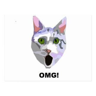 OMG! CAT 'what has he seen?' Postcard