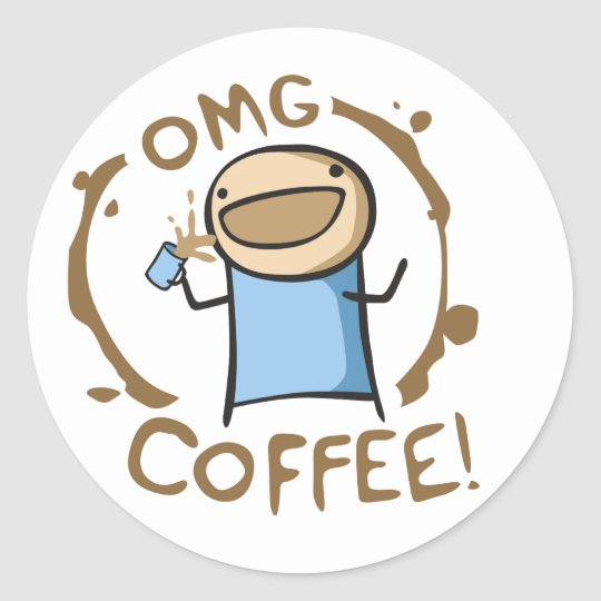 OMG Coffee Classic Round Sticker