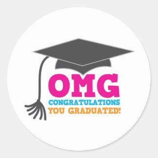 OMG congratuations you graduated! Classic Round Sticker