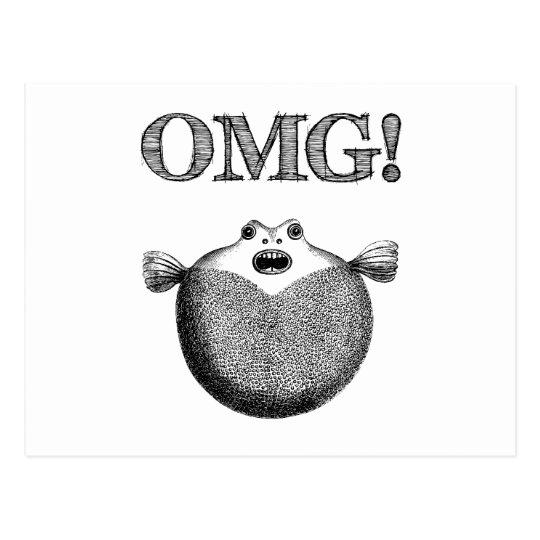 OMG! Cute & Funny Blowfish Illustration Postcard