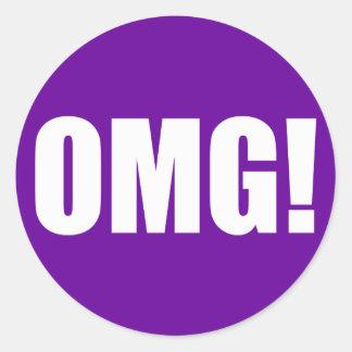 OMG! (dark) White on Purple Classic Round Sticker