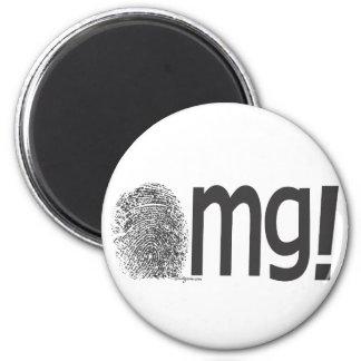 omg fingerprint text 2 inch round magnet