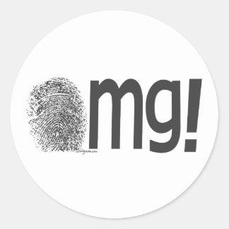 omg fingerprint text classic round sticker
