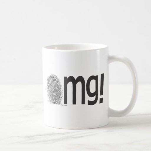omg fingerprint text classic white coffee mug
