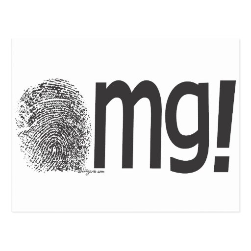 omg fingerprint text postcard