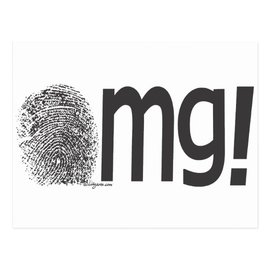 omg fingerprint text postcard
