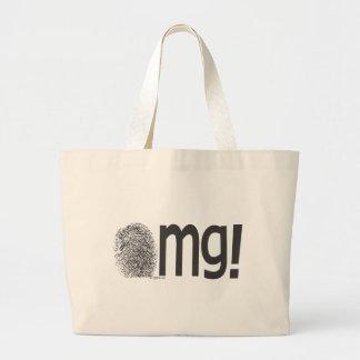 omg fingerprint text tote bag
