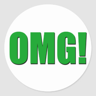 OMG green Classic Round Sticker
