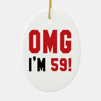 OMG I am 59 ! Ceramic Ornament